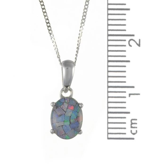 Collier - Femme - Or Blanc (9 Cts) 1.443 Gr - Opale 1.1 Cts Z8P0R