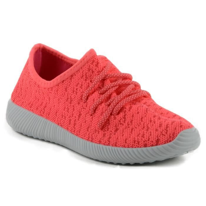 Nacara-02 Mode Poids léger faible Top Lace Up Knit Slip On Sneaker J0M9T Taille-40