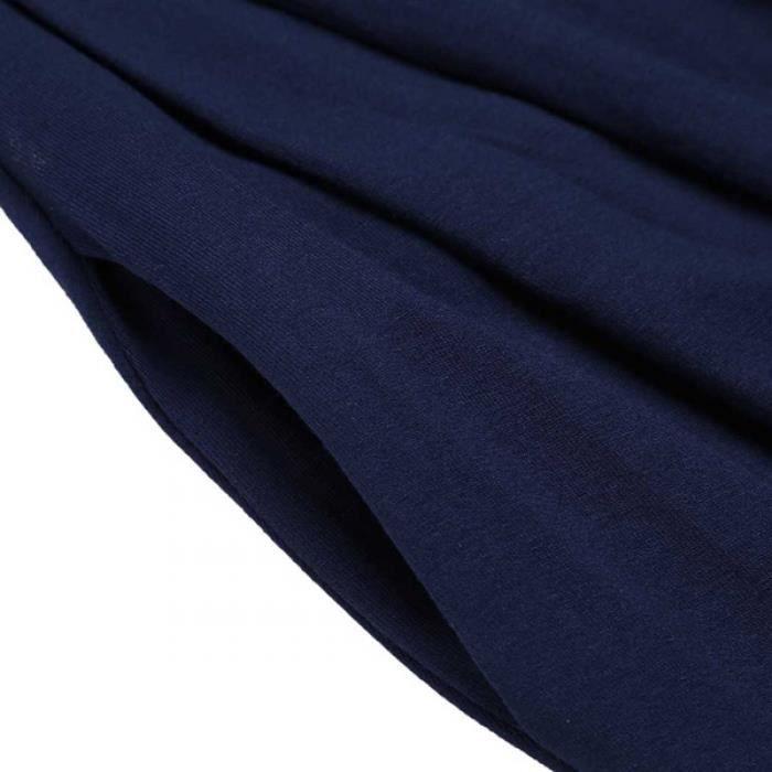 Robe femmes Casual manches courtes col O ourlet plissé une ligne solide élastique tunique avec poches