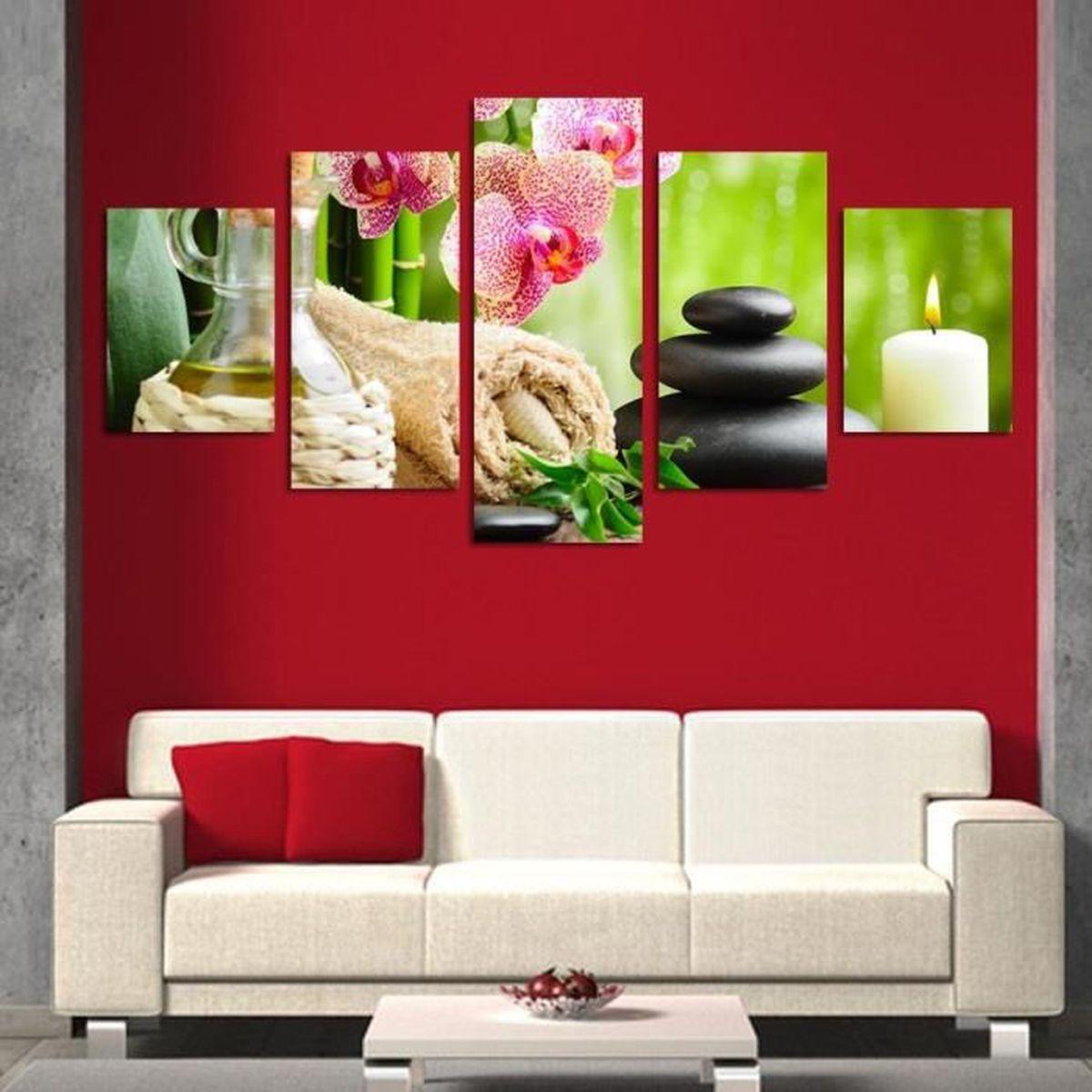 5 pi ce lot peinture murale en pierre de fleurs toile for Decoration murale one piece