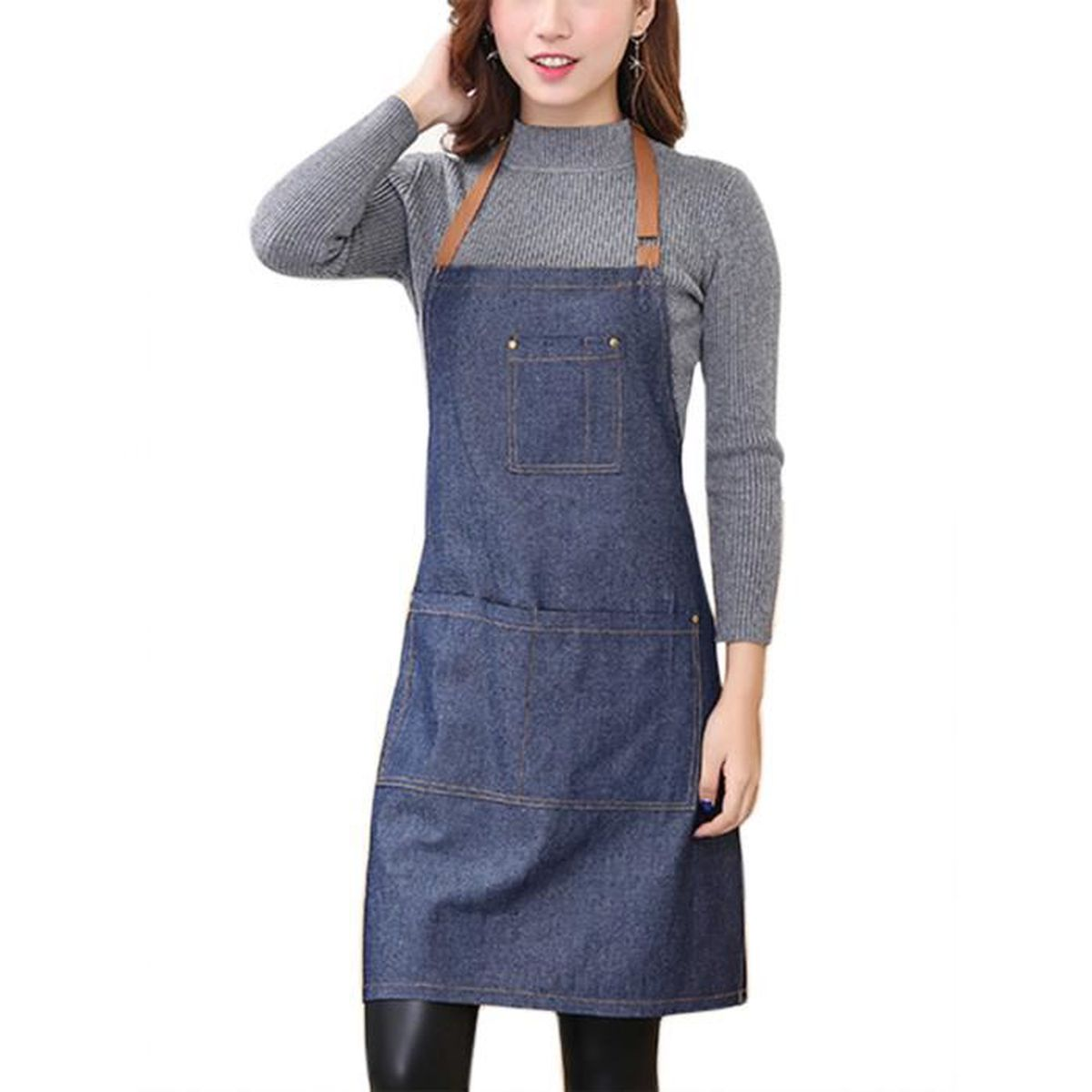Feoya femme tablier longue en denim licou r glable tablier en jeans pour cuisine restaurant - Tablier de cuisine rigolo femme ...