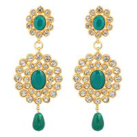 Boucle d'oreille Touchstone gold tone Indian bollywood faux emerald