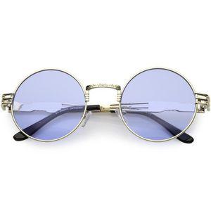 4985153b9f Femmes Lunettes de soleil rondes oversize Gravé Bras Métal Couleur Cutout  teinté objectif de 53mm (or - bleu) KXU0N