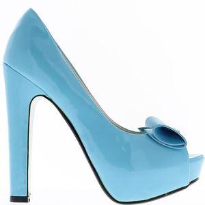 ESCARPIN Escarpins bouts ouverts  bleus à talons de 13.5cm