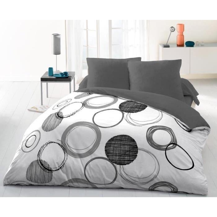 Matière : 100% coton 57 fils - Dimensions : 220x240 cm/65x65 cm - Coloris : anthracite - Lavable à 60°CPARURE DE COUETTE