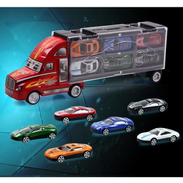 kit jouets voiture pour enfant camion et 12 voitures transporteur porte conteneur 12 voitures d. Black Bedroom Furniture Sets. Home Design Ideas