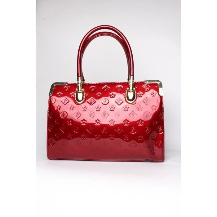 SAC A MAIN FEMME - MULTI POCHES VERNIS ROUGE