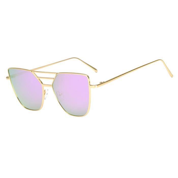 An-949Mode unisexe Vintage Irrégulier lunettes de mode Lunettes de soleil aviateur miroir violet