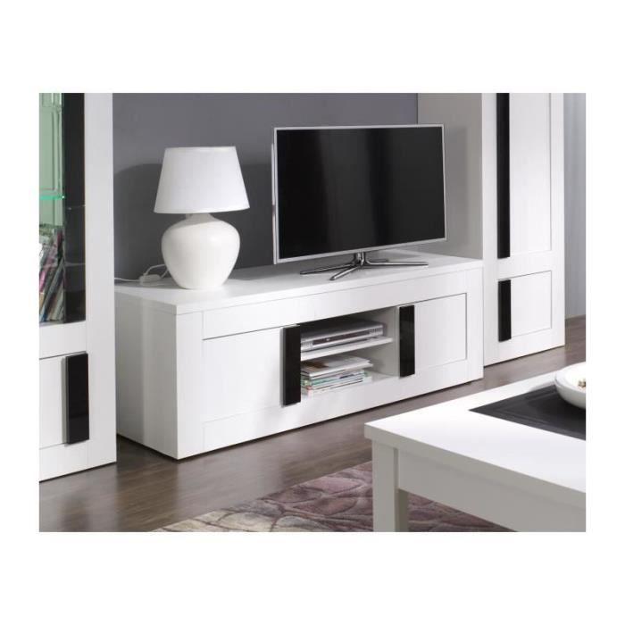 Meuble Tv Déco Alpens Coloris Blanc Cérusé Noir Brillant Meuble
