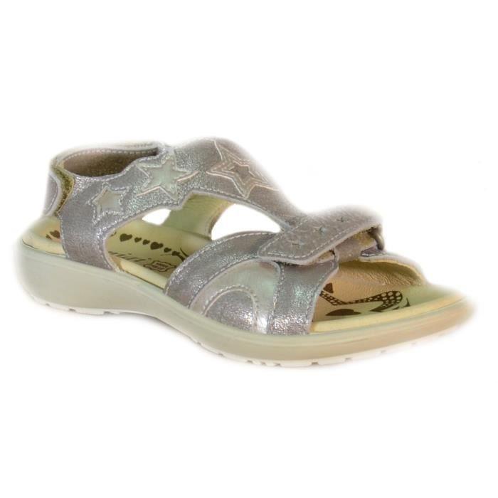 Primigi Sandales pour Fille Argent Cuir Velcro 68600