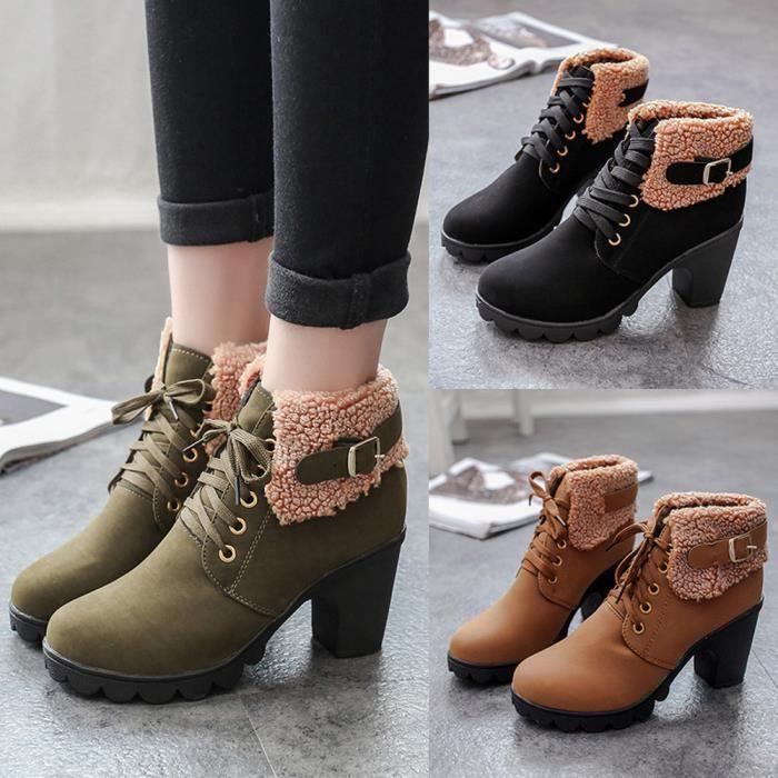 Les femmes boucle de ceinture chaussures faux bottes cheville bottes talons hauts Martin XXL70831496