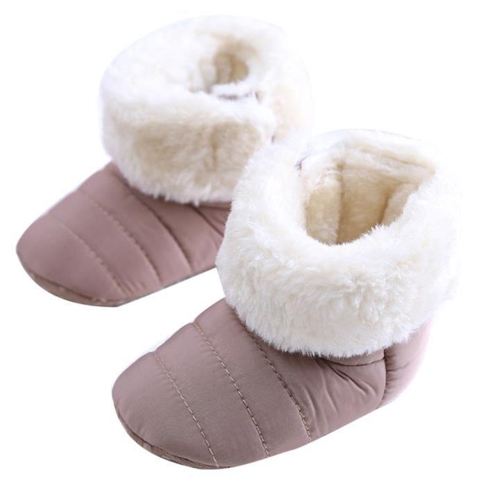 Bébés nouveau-né mignons bébé premier marcheur Flats chaussures de bottes Bottes de neige Gris 04wJveIUx