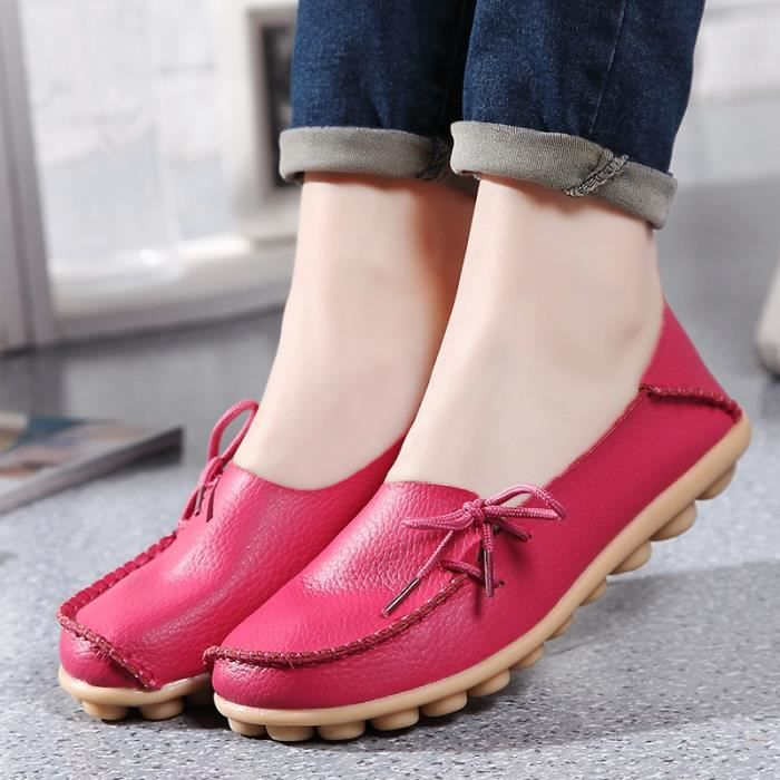 Flat kaki Casual Chaussures Rouge Rougr rose Respirant Cuir vin Confortable En Marine Femmes Doux xYRqwzzS