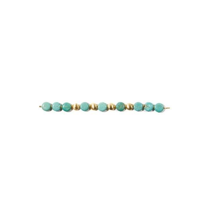 Collier Turquoises et perles dorées 43 cm