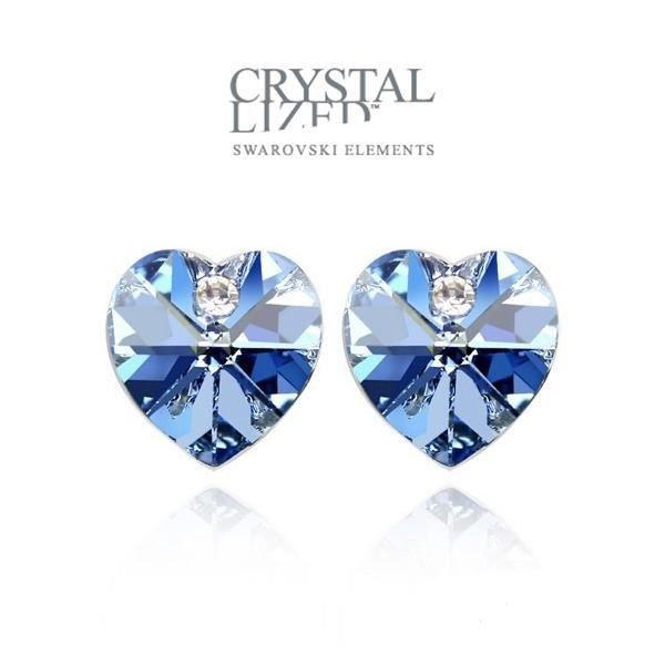 Boucles doreilles Coeurs en Cristal de Swarovski Element Bleu