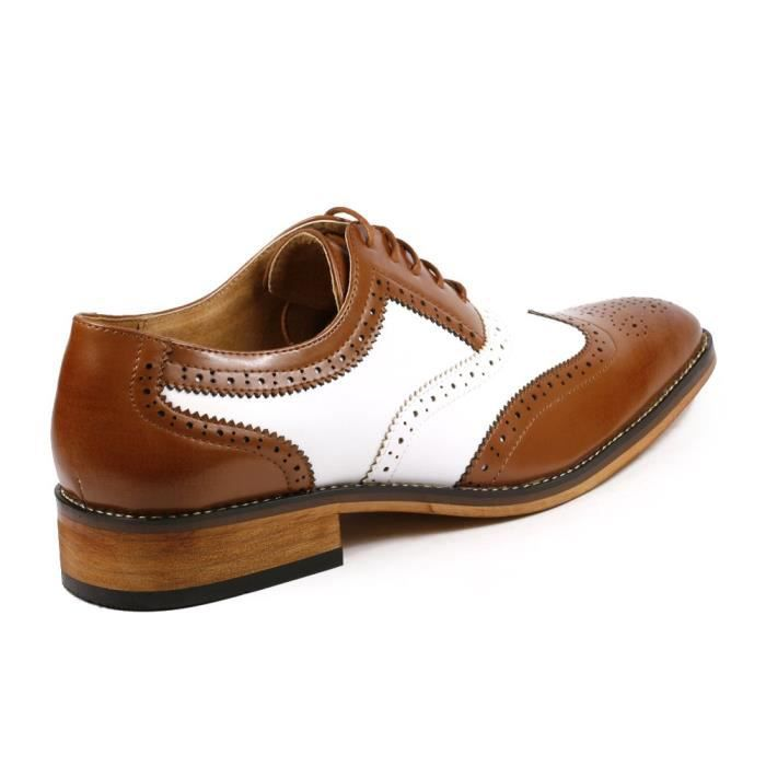 PA002 Deux Tons perforé Wing Tip Lace Up Oxford Chaussures Robe VGBPO Taille-42 1-2