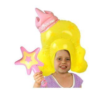 DÉGUISEMENT - PANOPLIE Perruque princesse + baguette magique gonflables