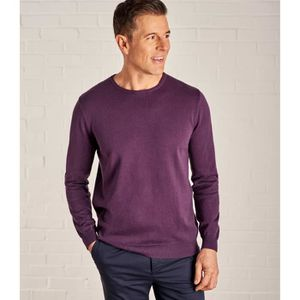 Rond Violet Coton Col À Peigné Homme Woolovers Pull Claire Prune b6f7Yyg