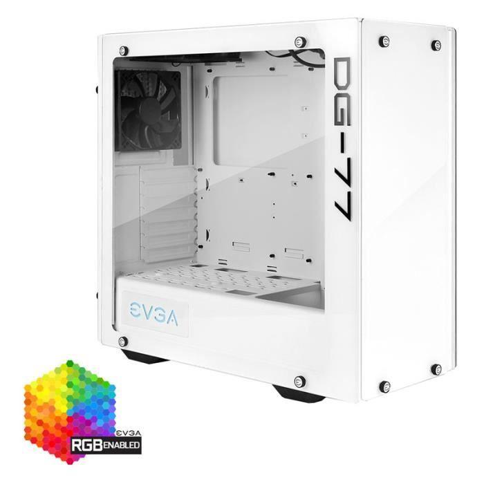 EVGA Boitier PC Gaming DG-77 - Blanc Alpin - Mid-Tower - 3 côtés en verre trempé - RGB LED - 176-W1-3542-KR