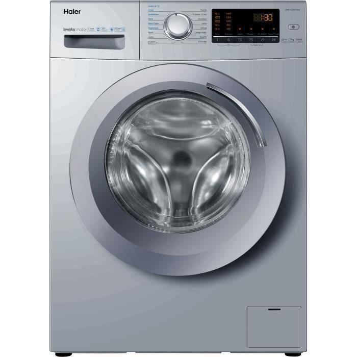 Lave Linge frontal HAIER HW07-CPW14639S - 7 kg - A +++ - 1400 tours / min - Silver