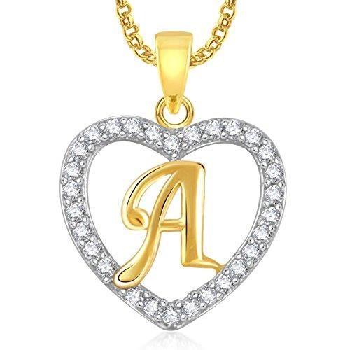 Cadeaux Saint Valentin Femmes Coeur « a » Alphabet Pendentif pour & avec chaîne Ps0396 F0X9Z