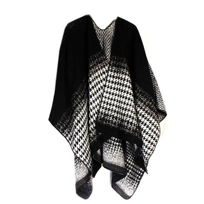 noir et blanc écharpe pellicule réversible des femmes avec des chevrons -  dogtooth impression 9365a0bb836