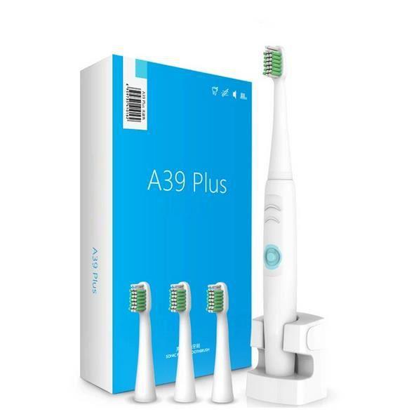 Blanc nouveau imputable électrique brosse à dents sans fil charge ultrasons sonic brosse à dents électrique 4 têtes dents brosse