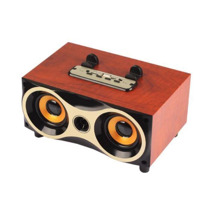 Xm 6 Enceinte Bluetooth Haut Parleur Sans Fil Portable En Bois-rouge Y183