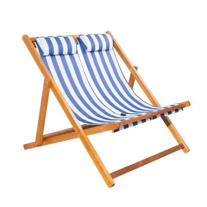 Chilienne double pliante mobilier raineau en bois blanc for Chaise longue bois pliante