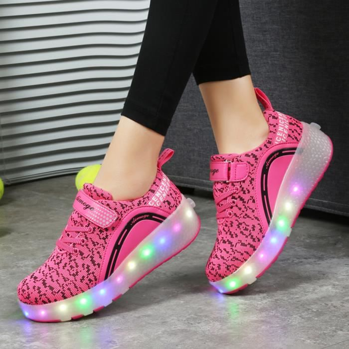 Nouveau Style Enfant Basket Flyknit Roulettes À Chaussures Led Lumière Heelys Chaussures Garçons Filles Sneakers Avec Un Roues Zdn38No6K