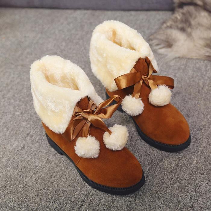Bottes de neige poils hiver bottes de cheville chaussures femme bottes de mode sZiz3