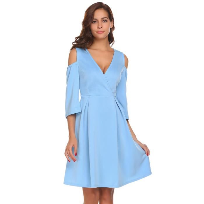 Femmes robe V-cou épaule froide manches 3-4 Solid Fit et Flare Party