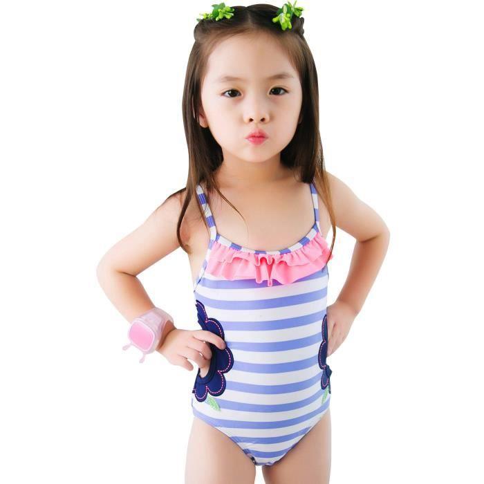 9a8a3aed4ab00 Maillot de Bain 1 Pièce Fille Bretelles Dos Nu Rayé Mignon Swimsuit pour  Natation Plongée Piscine Plage 3-4 ans Bleu