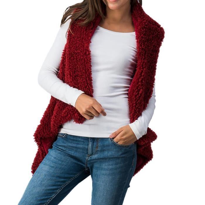 Manches Outwear Femmes Rwei8238 Les Fausse D'hiver Solide Lady Fourrure Réchauffez Gilet X0xgqO6x