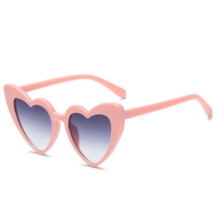 a02d1f1a82bc9e Lunettes de soleil rose et bleu pour les femmes + Lunettes de polarisées  forme coeur UV400