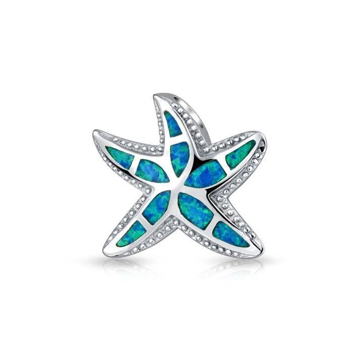 Opale Bleu Nautique Starfish Poignée Hawaiian Bijoux 925 Sterling