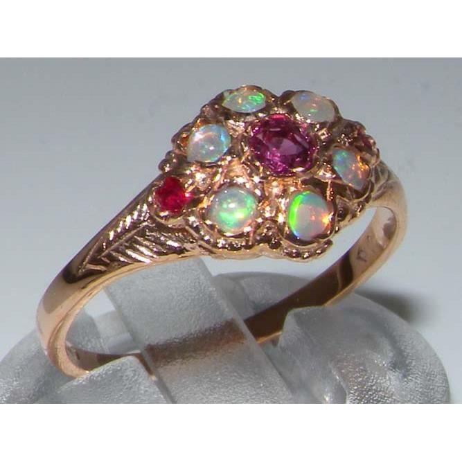 Bague pour Femme en Or rose 9 carats 375-1000 sertie de Rubis Opale- Tailles 50 à 64