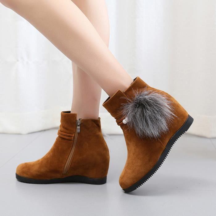 Femmes Bout Pure Bottes Marron Zipper Suede Martin Chaussures Color Compensées Hairball Rond wtrqw4g