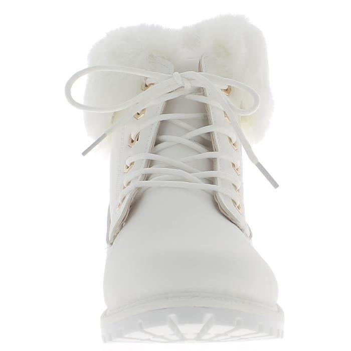 Bottillons fourrés blancs hauts à talons de 2,5 cm et lacets - Couleur:Blanc Pointure: