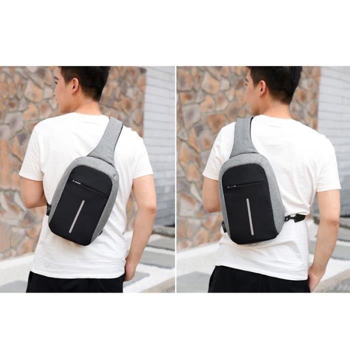 Chargeable Casual Unblance Anti Usb vol A Gris Bandouliere Voyage Crossbody Dos Daypack Sac wAX6qOgx