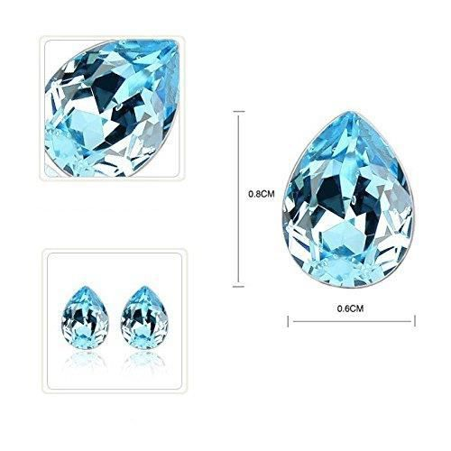 Womens Blue Austrian Crystal Combo Jewellery Of Pendant Set With Earrings & Bracelet ForUF8T9