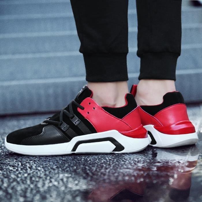 Skateshoes Homme Korean Simple Solf en cuir cool été - automne Sneakers Casual noir-rouge taille8