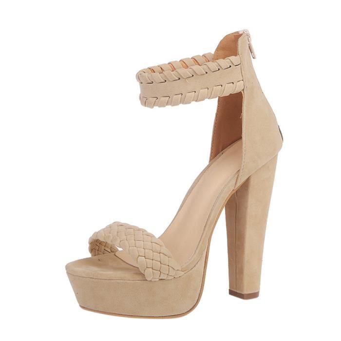 Beige High Waterproof Sandals xie Heels Party Ladies Super Ankle Shoes Femmes Square 4485 Heel UxHnwCPI