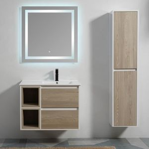 Meuble de salle de bain 2 Tiroirs 2 Niches - Bois - Vasque - Miroir ...