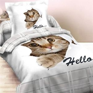 HOUSSE DE COUETTE SEULE Hello Cat Flanelle Housse de Couette - 140x200 cm