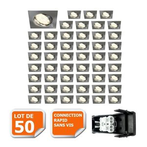 SPOTS - LIGNE DE SPOTS LOT DE 50 SPOT ENCASTRABLE ORIENTABLE LED CARRE AL