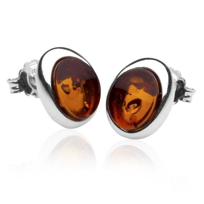 In Collections - 0130260080980 - Boucles Doreille Femme - Argent Fin 925-1000 - Ambre AQQLT