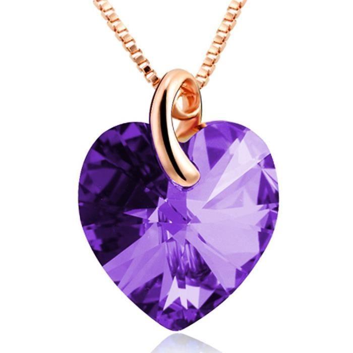 Pendentif en cristal avec la chaîne pour Purple-pfcp15a des femmes XFQM8