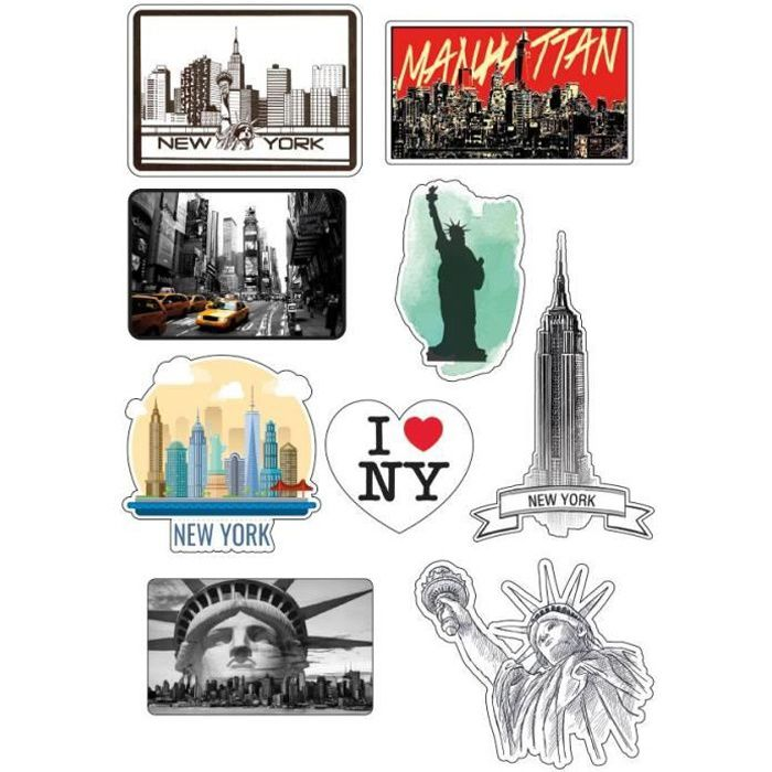 stickers muraux new york achat vente stickers muraux new york pas cher cdiscount. Black Bedroom Furniture Sets. Home Design Ideas