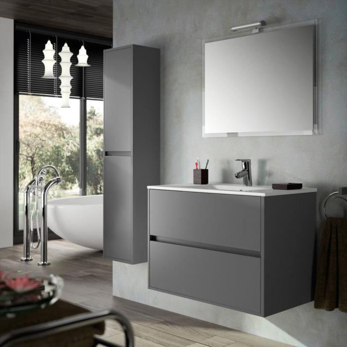 Meuble salle de bain suspendu 90 cm couleur gris - Achat / Vente ...